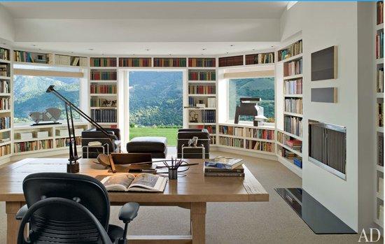 Modern library table decor