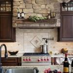 Rock backsplash for kitchen design