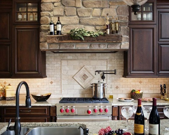 Rock backsplash for kitchen design