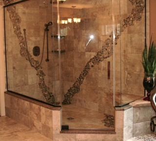 Walk in tile showers rustic