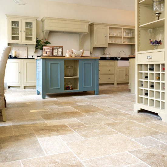 Travertine Stone Floors kitchen ideas - Appliance In Home
