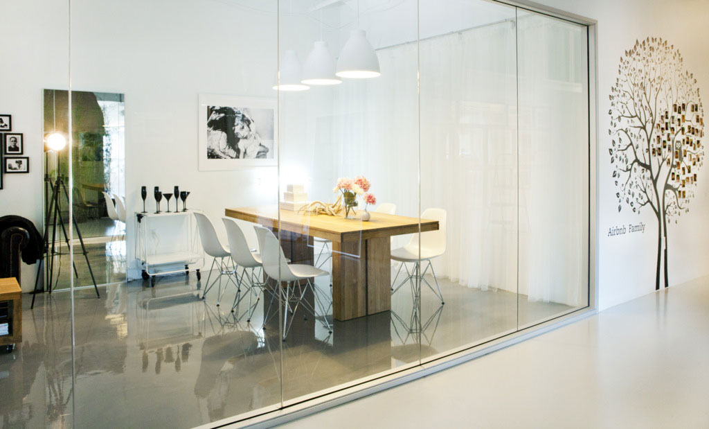 Offices with glass walls modern