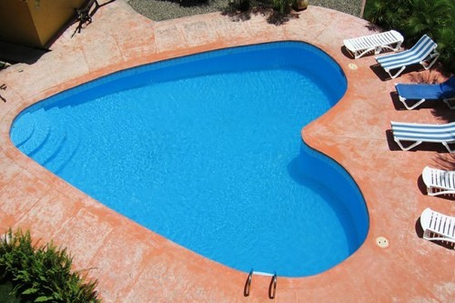 Outdoor pool such as heart decor