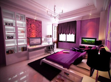Purple colored rooms modern