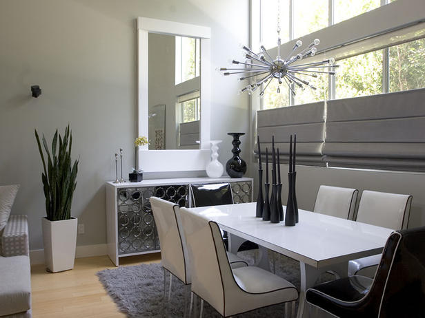 Room designs in black and silver decor