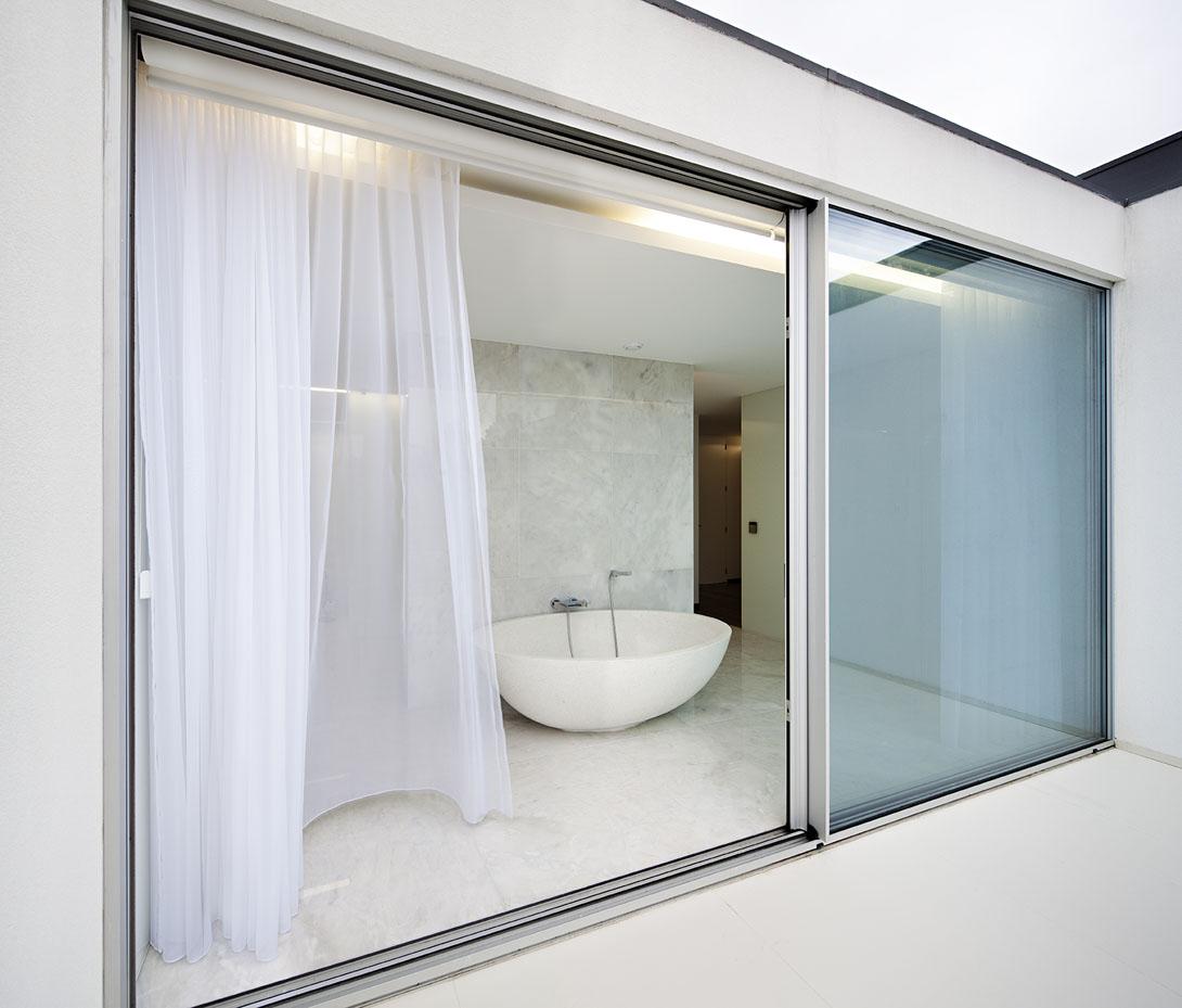 Sliding door in bathroom modern