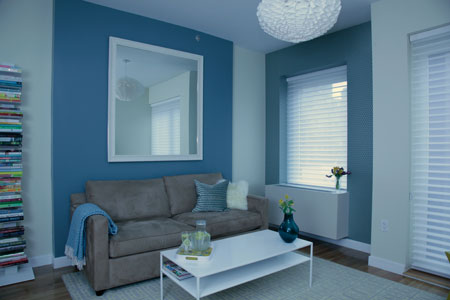 Blue accent wall living room