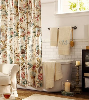 Fabric shower curtains pottery barn