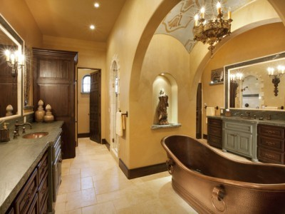 brown and gold bathrooms decor