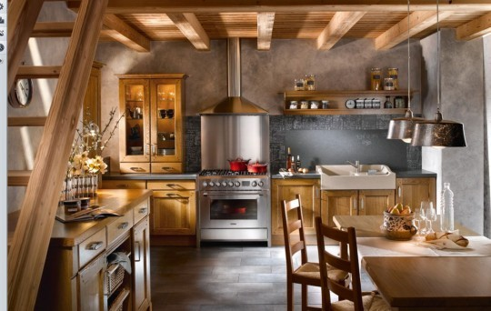 Color washing walls in the old world French Country Charm kitchen
